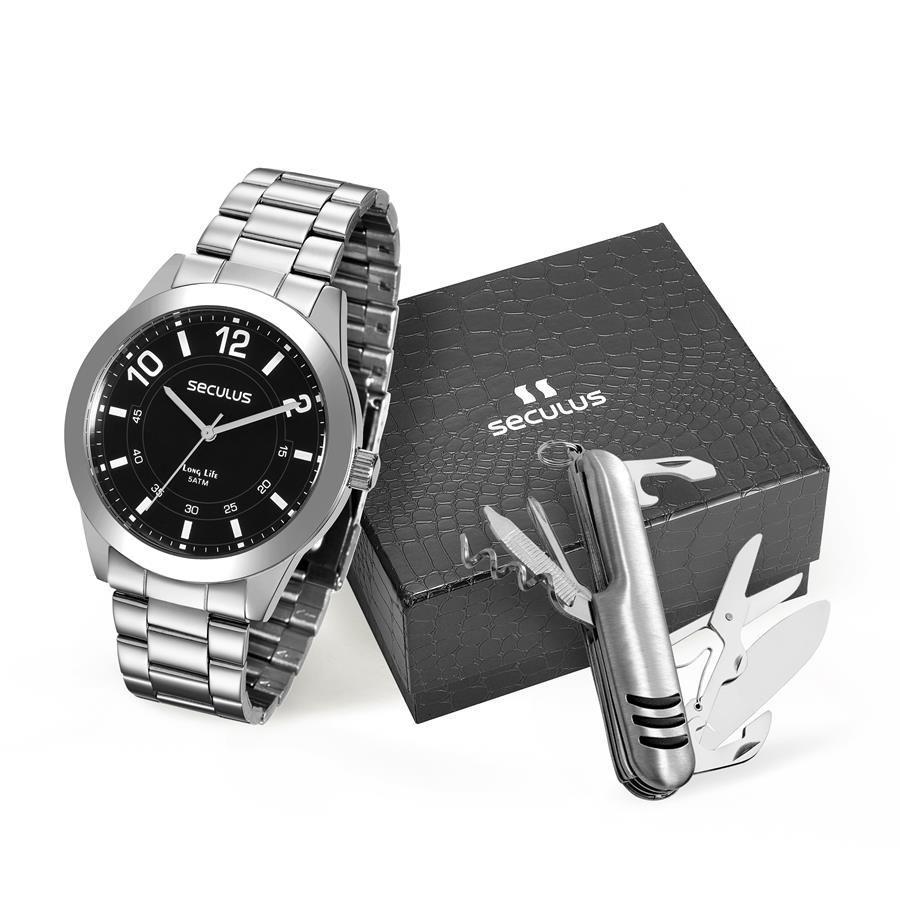 93473eeb332 Relógio Seculus Masculino Ref  28883g0svna1 Prateado + Canivete R  209