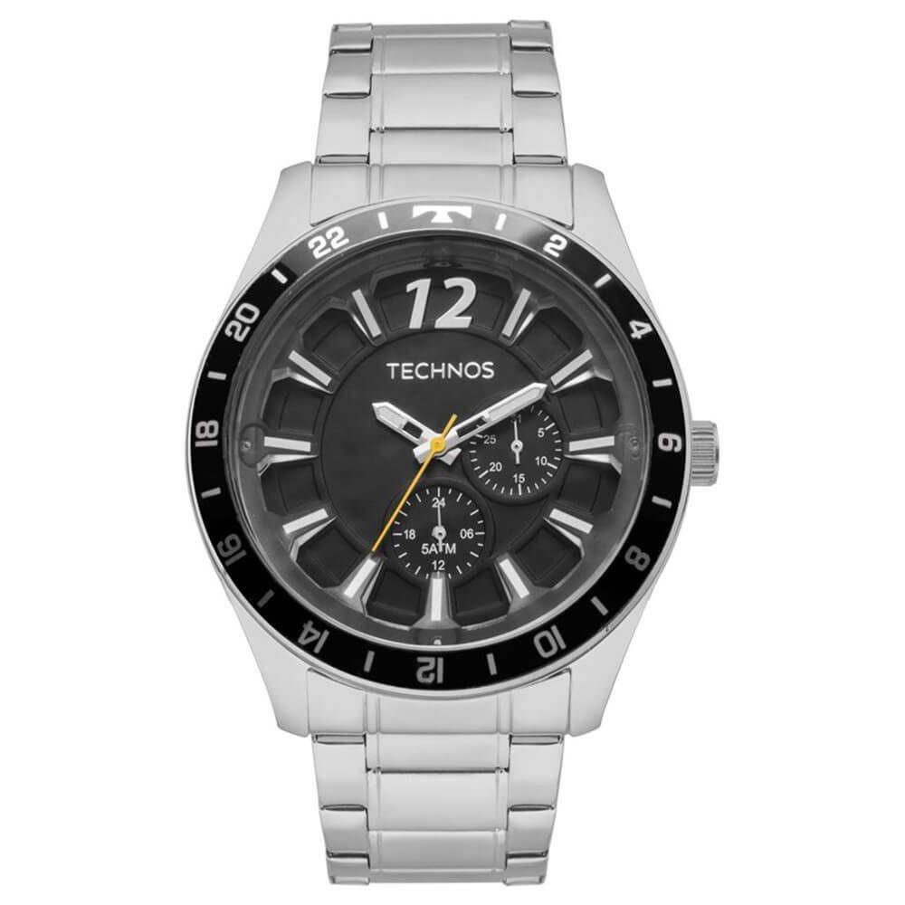 2dc76f27414 Relógio Technos Masculino Prata Fundo Preto Multifunção Aço Produto não  disponível
