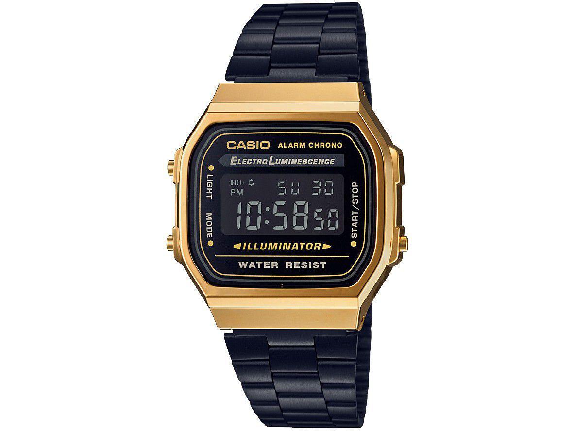 b86394dca1a Relógio Unissex Casio Digital Resistente à Água - Vintage A168WEGB-1BDF R   314