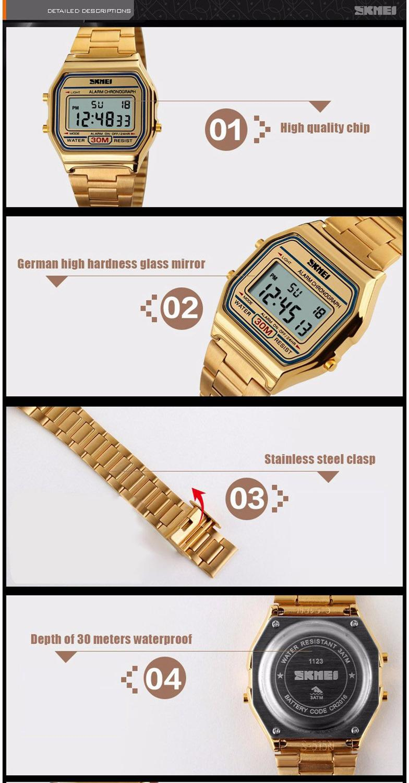 ecfb18a073f Relógio Unissex Skmei Digital 1123 Dourado - Relógio Masculino ...