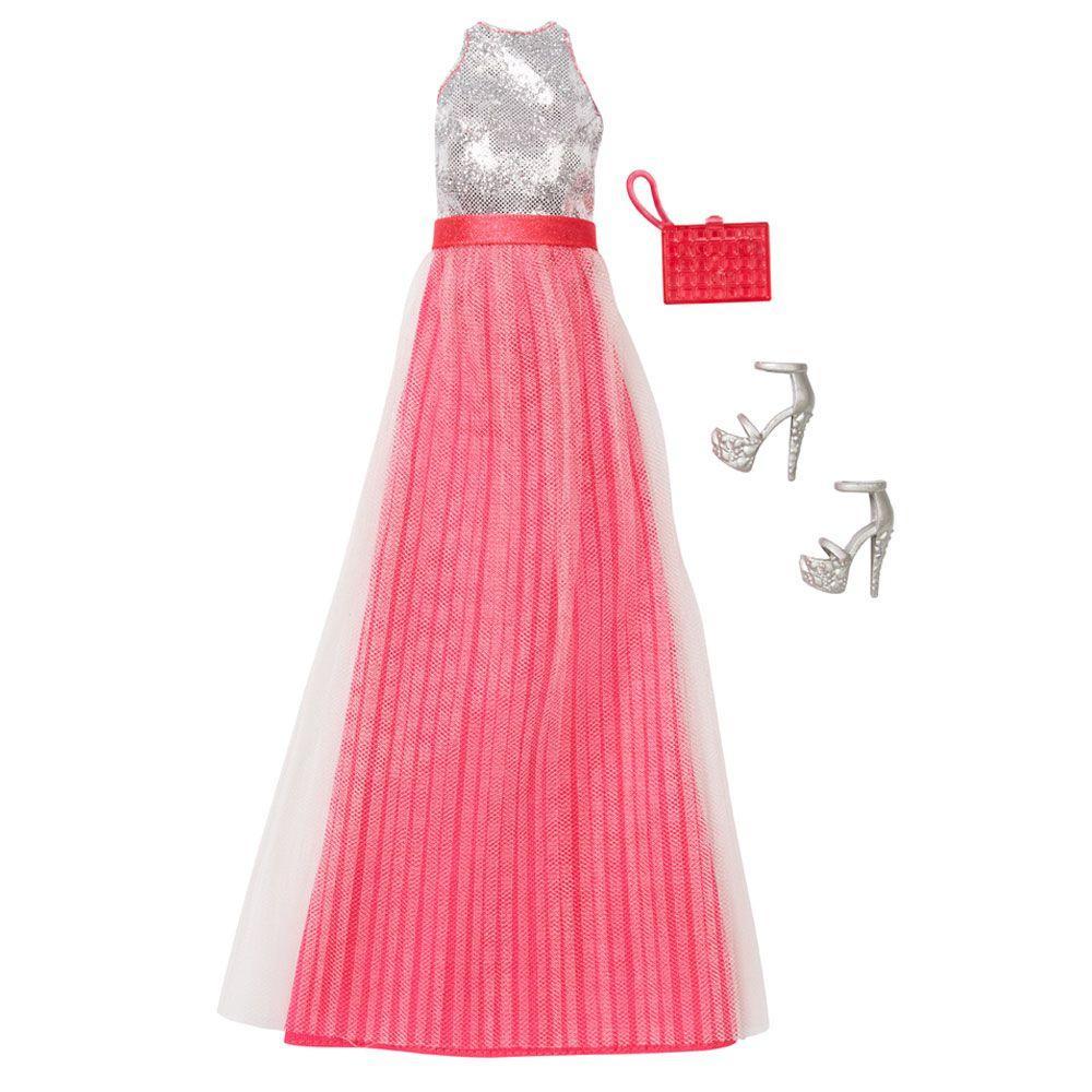 621302379 Roupinha para Bonecas Barbie - Vestido de Gala Prata e Rosa- Mattel Produto  não disponível