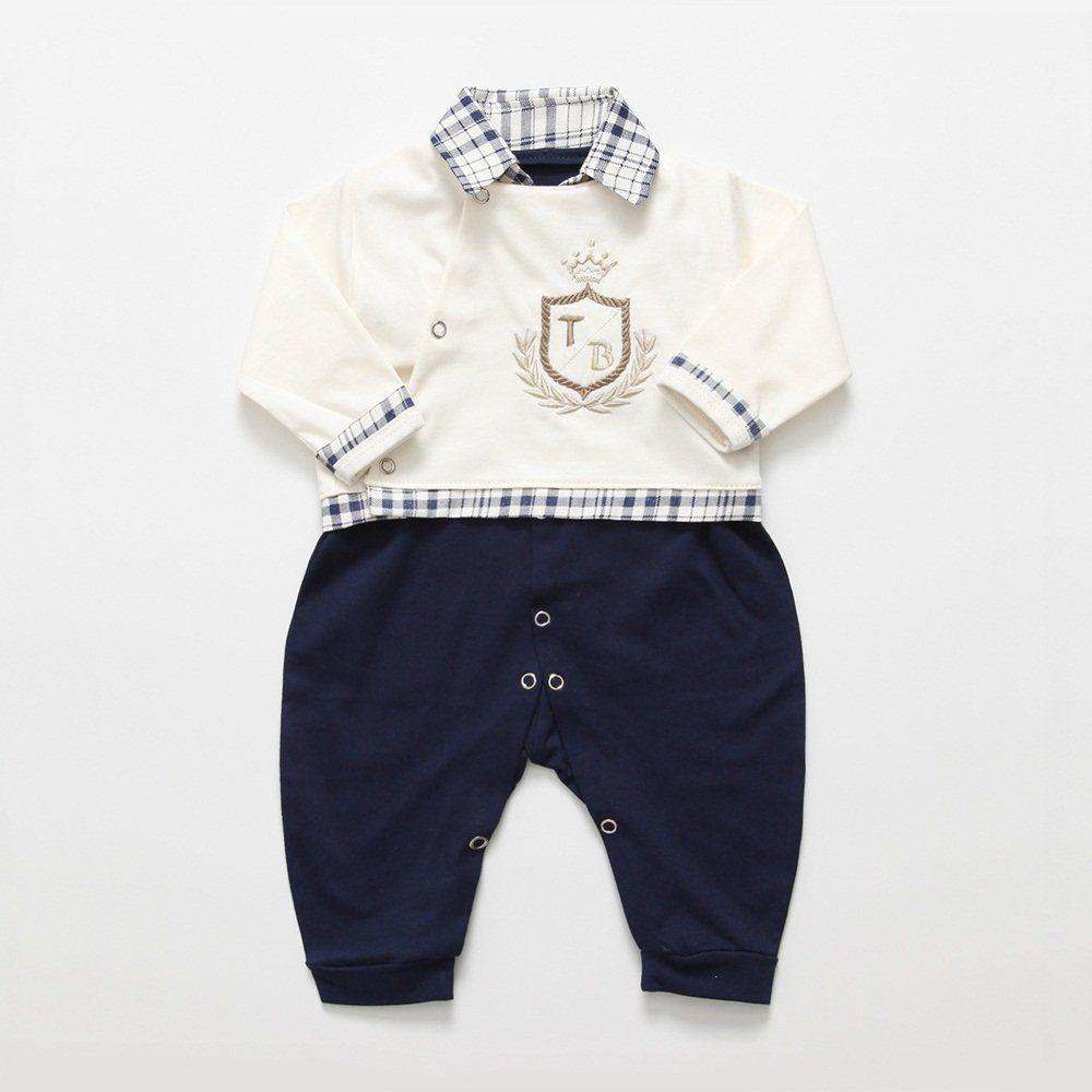 Saída Maternidade Manga Longa Xadrez Brasão Coroa com Boné - Tieloy baby R   107 3bb069d8abc