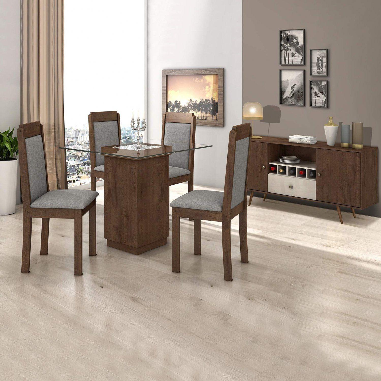Sala De Jantar Completa Madeiramadeira Com Mesa 4 Cadeiras E Buffet