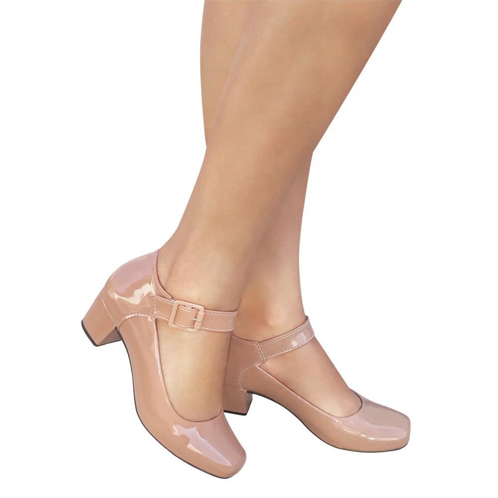 Sapato Boneca Feminino Cor Nude Verniz Salto Baixo Medio Duani