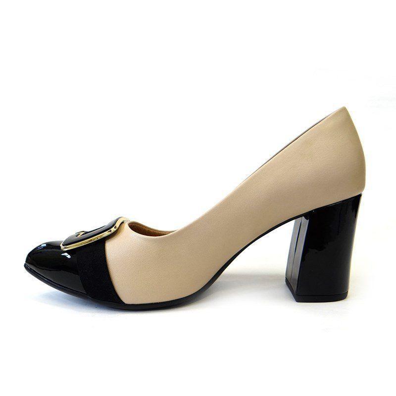 67cf3f04f Sapato feminino conforto 746002 - piccadilly (27) - bege/preto R$ 204,90 à  vista. Adicionar à sacola