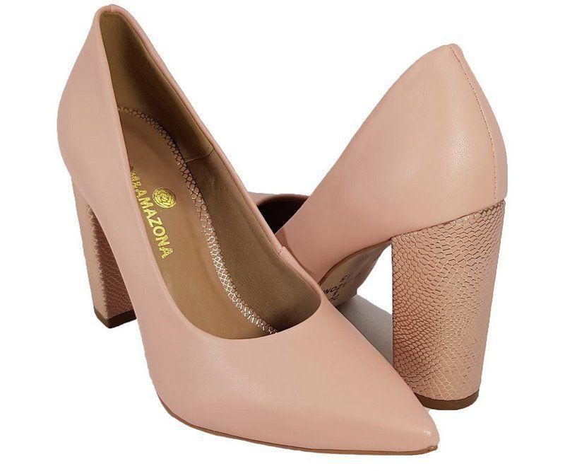 e07b319c5c Sapato Salto Grosso Numeros Especiais Nude Dom Amazona Cd479 - Dom amazona  R  139