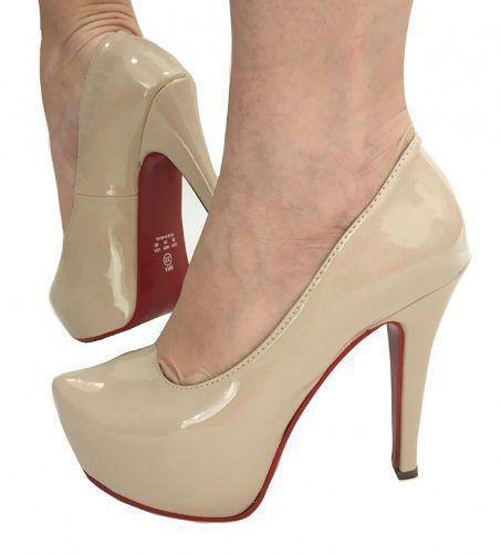 7d3d4a95b Sapato Scarpin Pata Nude Bege Salto Alto Fino Sola Vermelha - Calçados etc  R$ 155,60 à vista. Adicionar à sacola