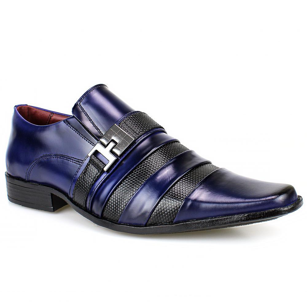 2f43d19be Sapato Social Masculino Bico Fino De Couro Verniz Preto com Azul -  Sapatofranca R$ 239,00 à vista. Adicionar à sacola