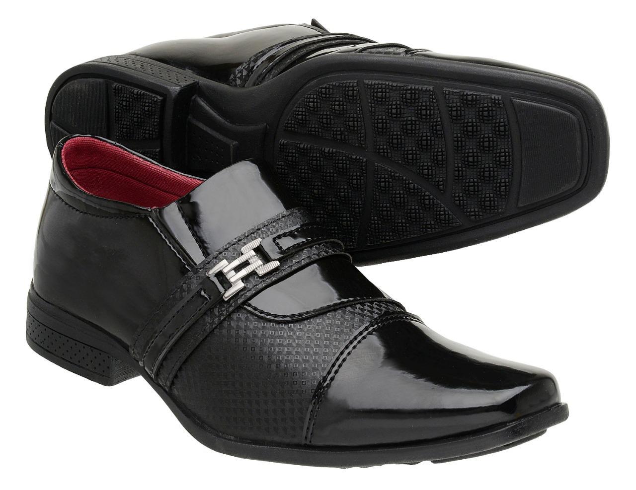 96e9a86434 Sapato Social Masculino Verniz Com Fivela Preto - Giolo R$ 59,90 à vista.  Adicionar à sacola