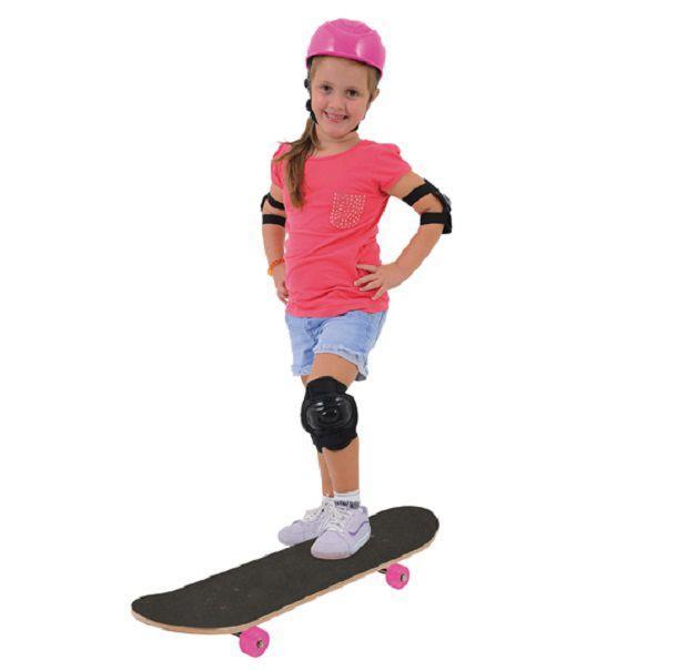 Skate Infantil Reforçado Cor Rosa Menina Feminino com kit proteção -  Xalingo R  147 9773af83504
