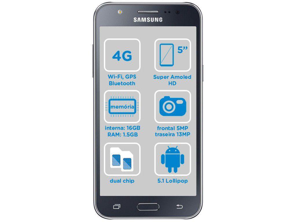Celular Desbloqueado Samsung Galaxy S4 Mini 4g Preto Com: Smartphone Samsung Galaxy J5 Duos 16GB Preto