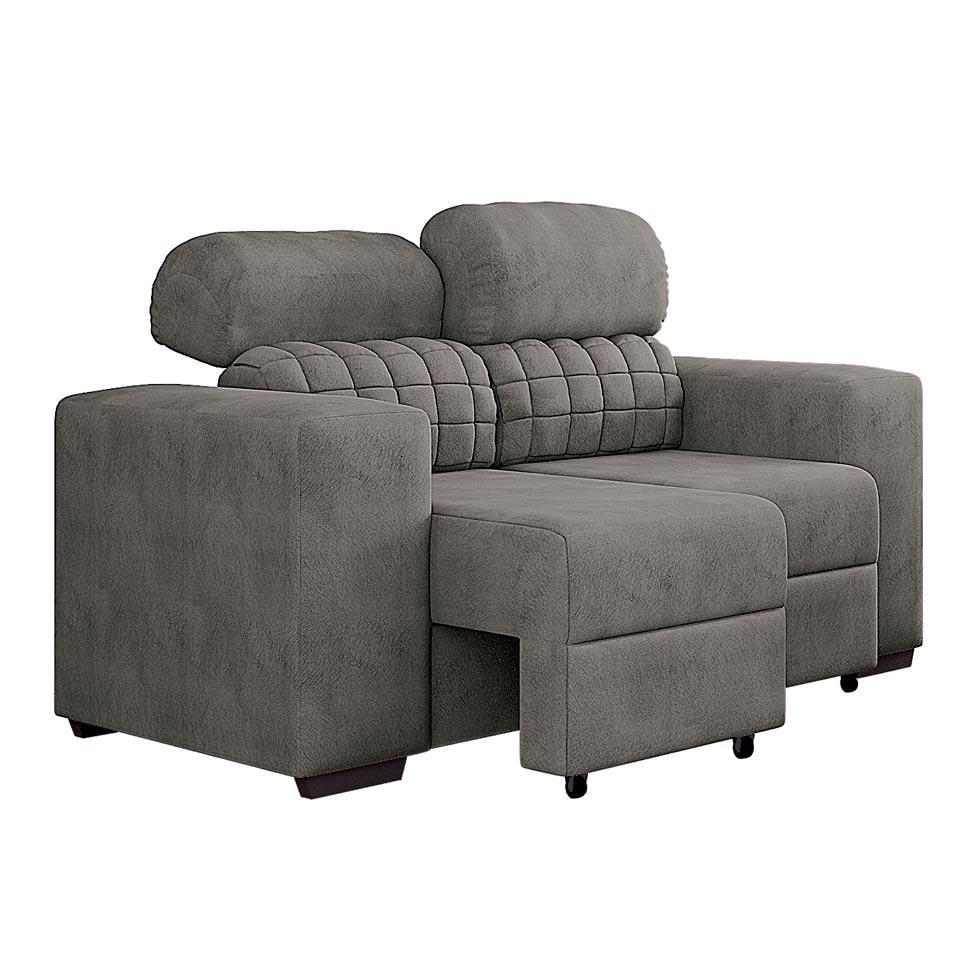 Sof 2 lugares retr til e reclin vel strauss suede cinza for Sofa 7 lugares retratil e reclinavel firenze