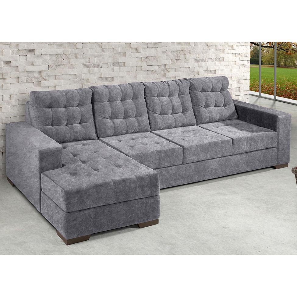 Sof 3 lugares com chaise marrocos suede amassado cinza for Sofa 03 lugares com chaise