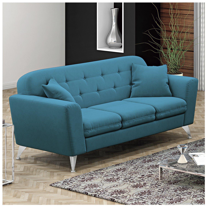 Sof 3 lugares madri linoforte suede veludo azul turquesa - Sofa azul turquesa ...