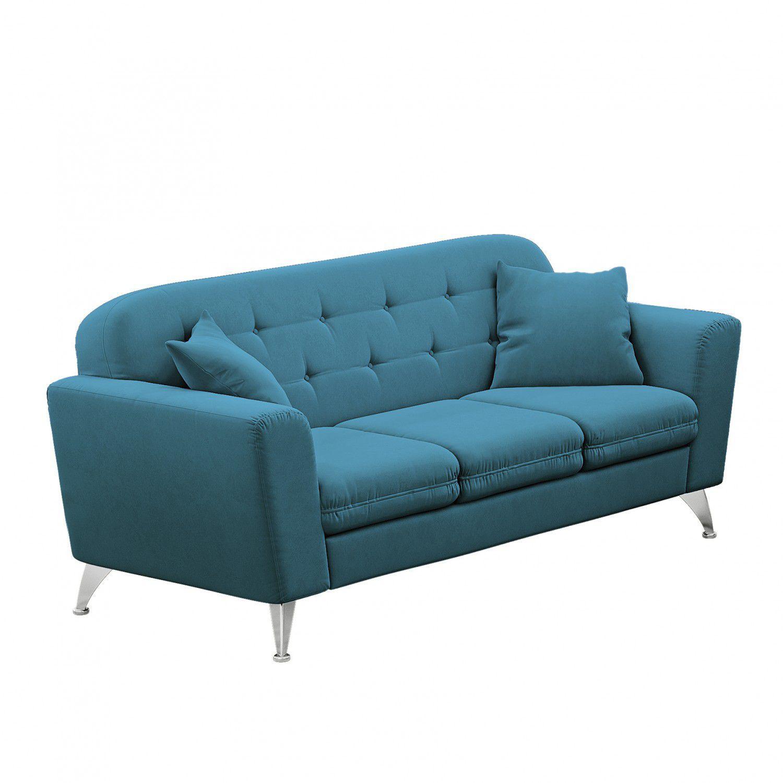 Sof 3 lugares madri linoforte suede veludo azul turquesa for Sofa azul turquesa