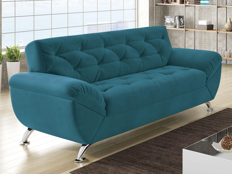 Sof 3 lugares revestimento suede larissa style for Sofa 03 lugares com chaise