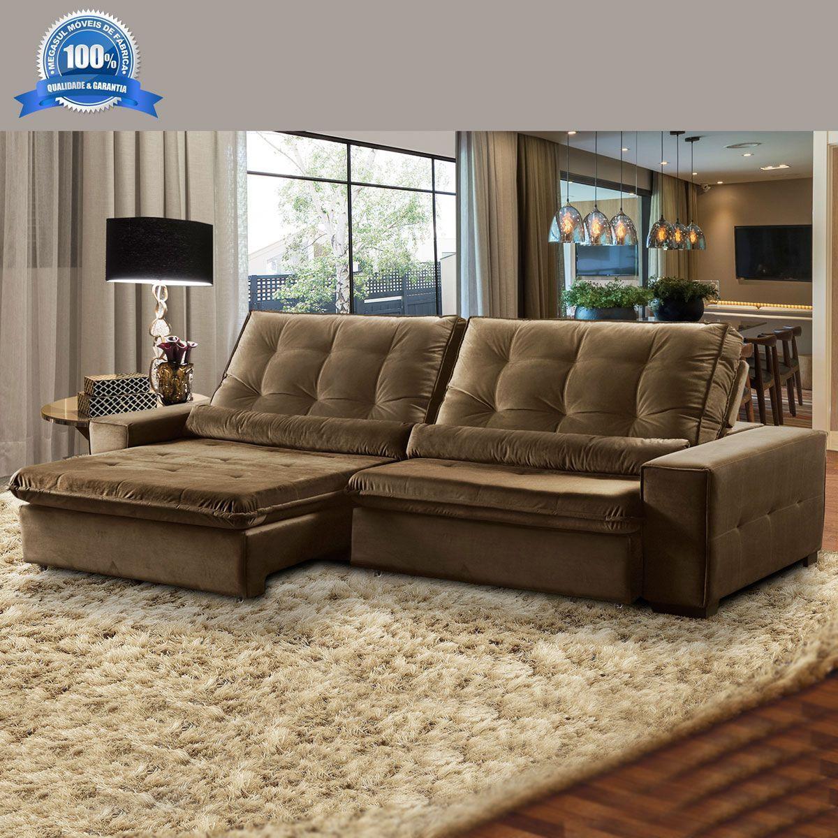 fedc1fb6a Sofá 4 Lugares Retrátil e Reclinável Assento Super Pillow 270x180 cm  Confort Veludo Marrom - MegaSul R  2.997