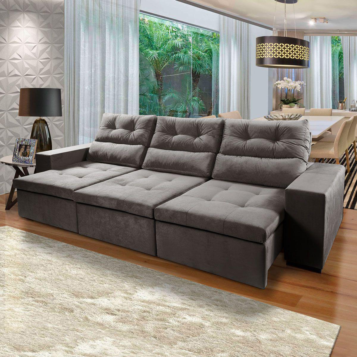 Sofa 6 Lugares Vic 320 Cm Retratil Reclinavel Pillow Veludo Cinza Escuro Duvali Sofas Magazine Luiza