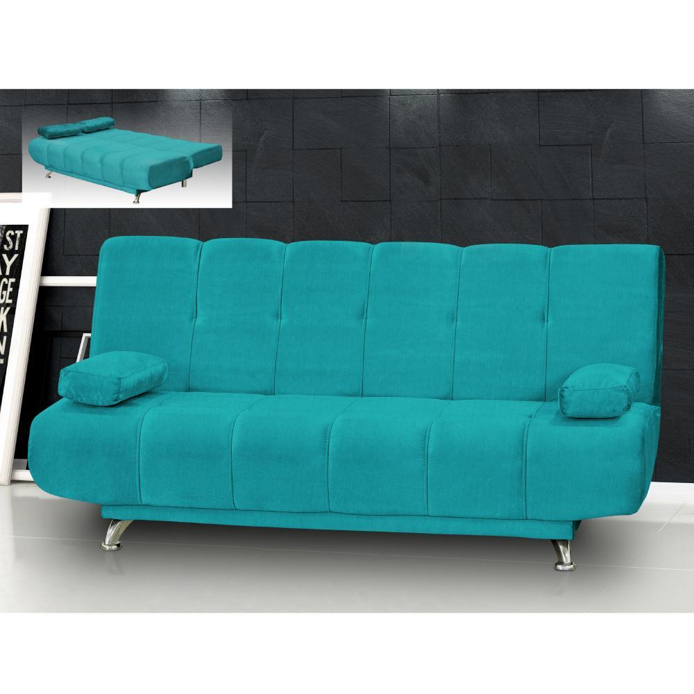 Sof cama reclin vel elo com p s em alum nio suede azul for Sofa azul turquesa