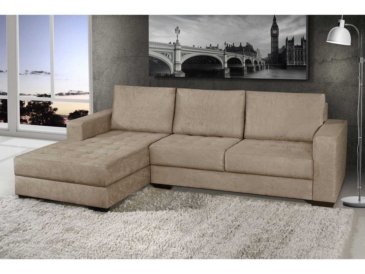 Sof chaise 2 lugares suede n pole american comfort for Sofa 02 lugares