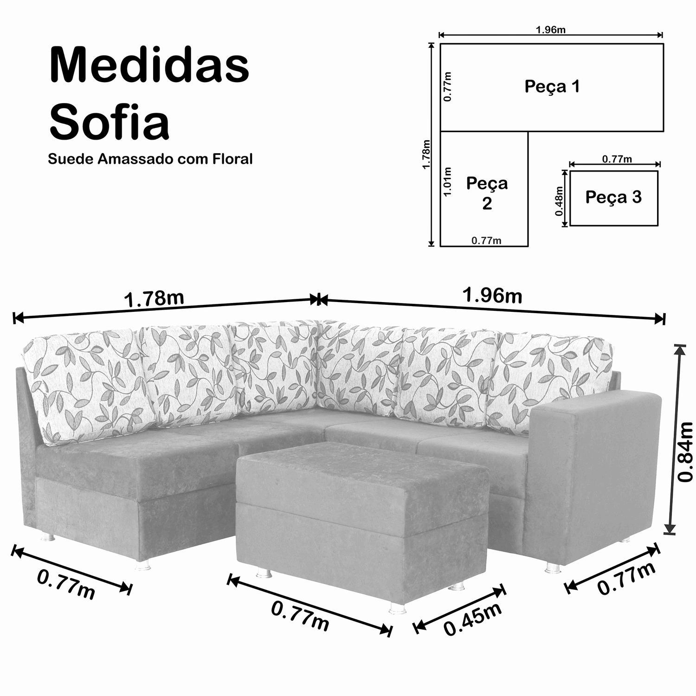 Sof de canto 5 lugares com puff sofia suede amassado for Medidas de sofas pequenos