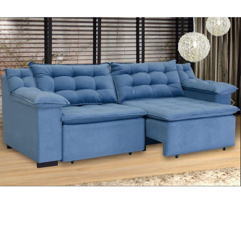Sofá Retrátil 4 Lugares Suede Confort Umaflex Azul - Sofás ...