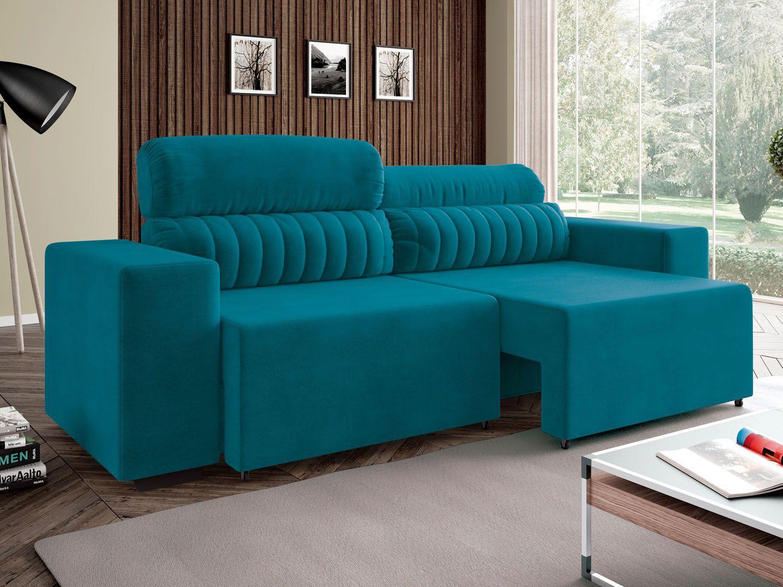 Sof retr til e reclin vel 4 lugares revestimento suede for Sofa cama 2 metros