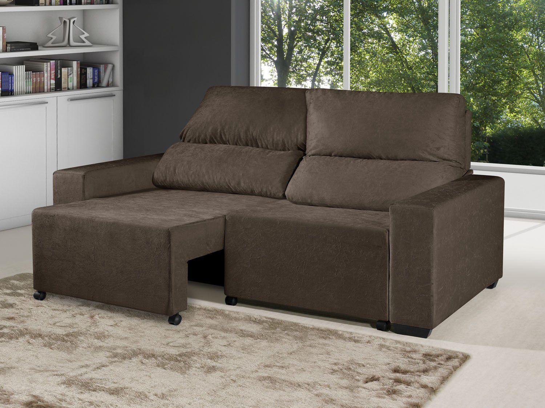 Sof retr til reclin vel 3 lugares elegance suede for Sofa 03 lugares retratil e reclinavel
