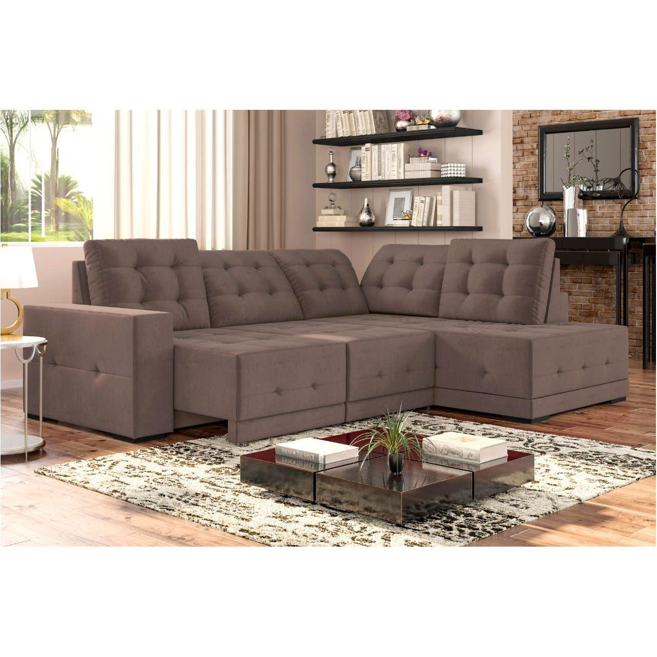Sofá Sttilo Canto 6 Lugares 285 x 205 cm Chaise D Suede ...