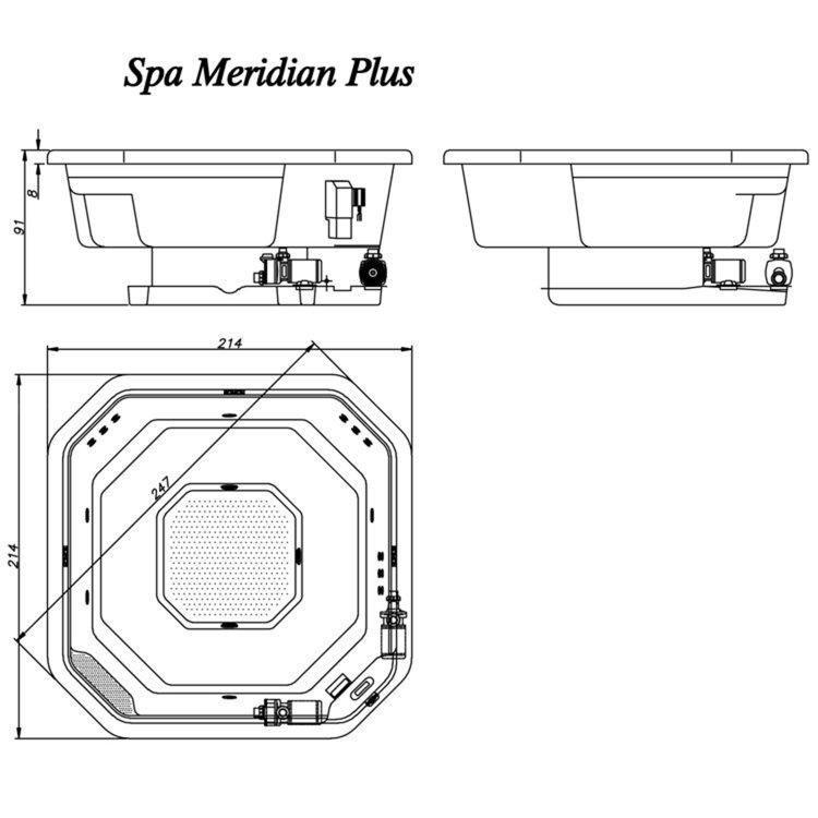 Spa jacuzzi meridian 2 14m x 2 14m x 91cm 05 jatos com for Jacuzzi para dos personas medidas