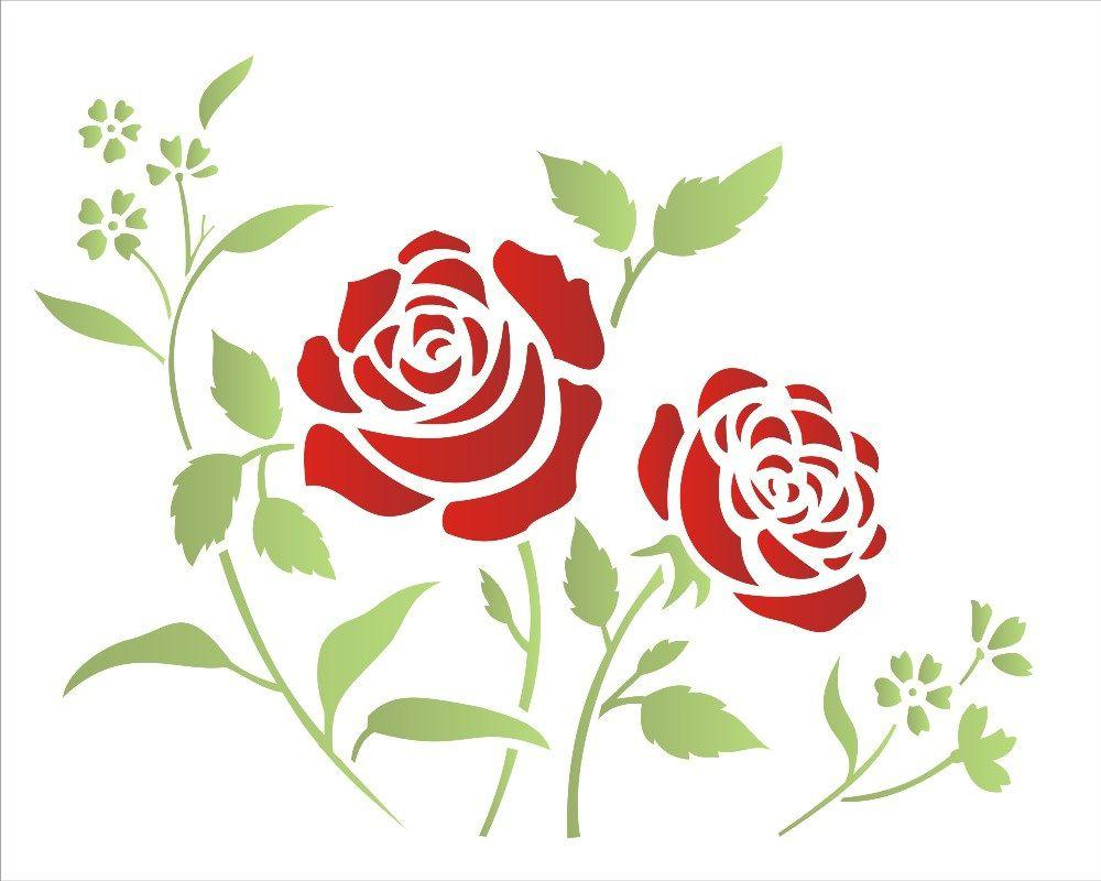 Stencil Opa 20x25 1408 Flores Roseira Acessorios Para Pintura