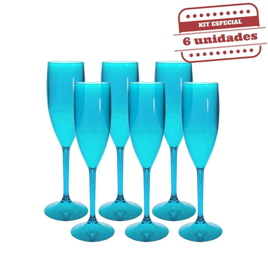 cc557b677 Taça Champanhe Durável Azul Tiffany 150ml 6 unidades Bezavel - Festabox R   29