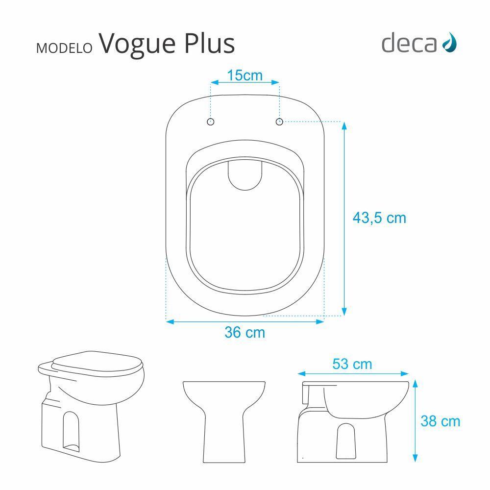 1bd422ad5 Tampa de Vaso Sanitário com Amortecedor Vogue Plus Branco para bacia Deca -  Pontto lavabo R$ 565,35 à vista. Adicionar à sacola