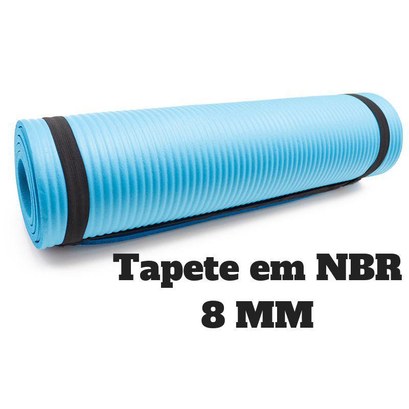 Tapete Yoga Azul em NBR 186x60x0.8 Pilates Treinamento - Pbk sports R   52 f947108230db