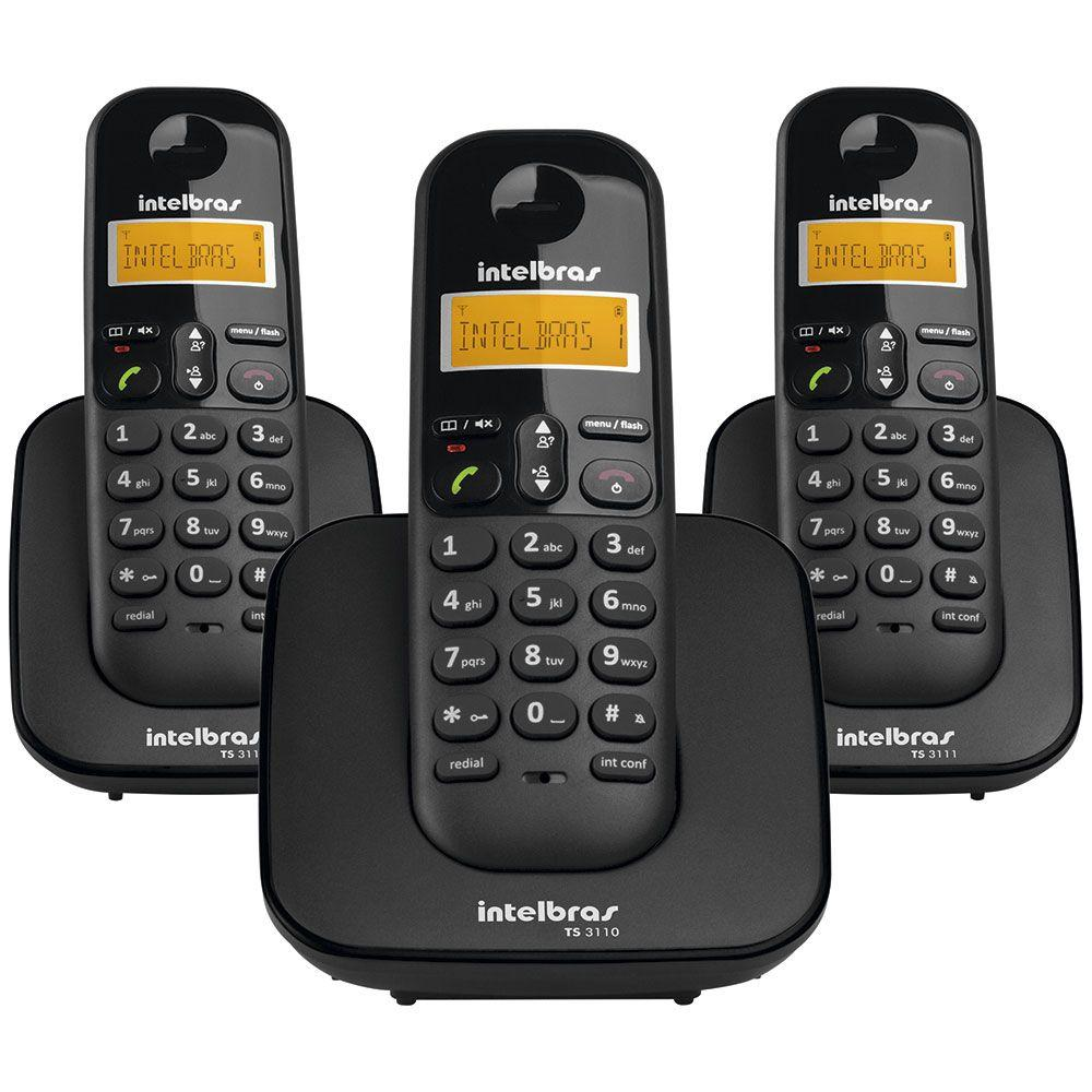 7cf2975a4 Telefone sem Fio TS3113 + 2 Ramais Adicionais com Identificador de Chamadas  - Intelbras - Telefone Sem Fio com Ramal - Magazine Luiza