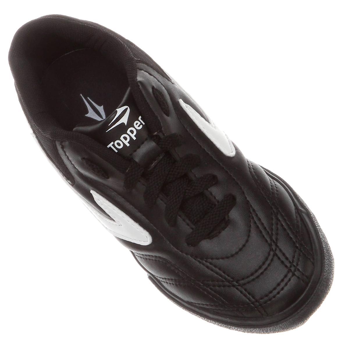 8bb1715a722 Tênis Dominator Preto Branco Infantil - Topper - Tênis de Futsal ...