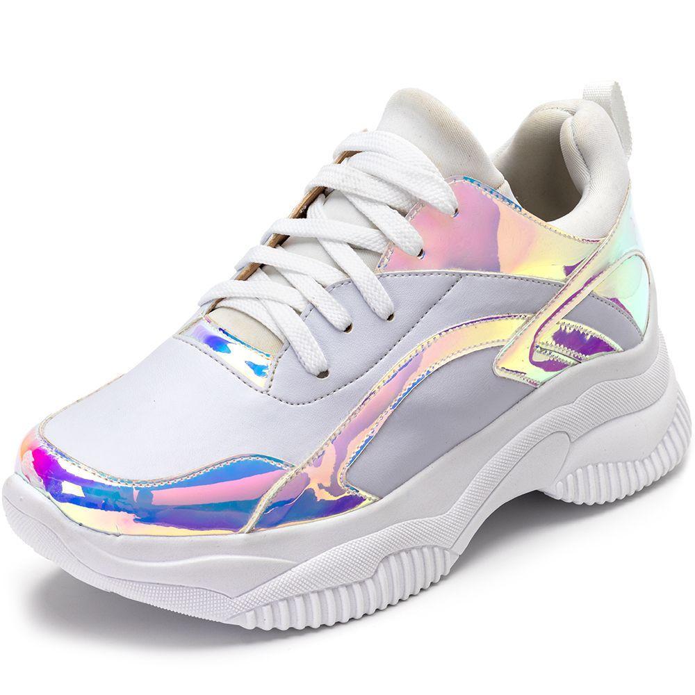 Tênis Sneakers Chunky Branco Recortes