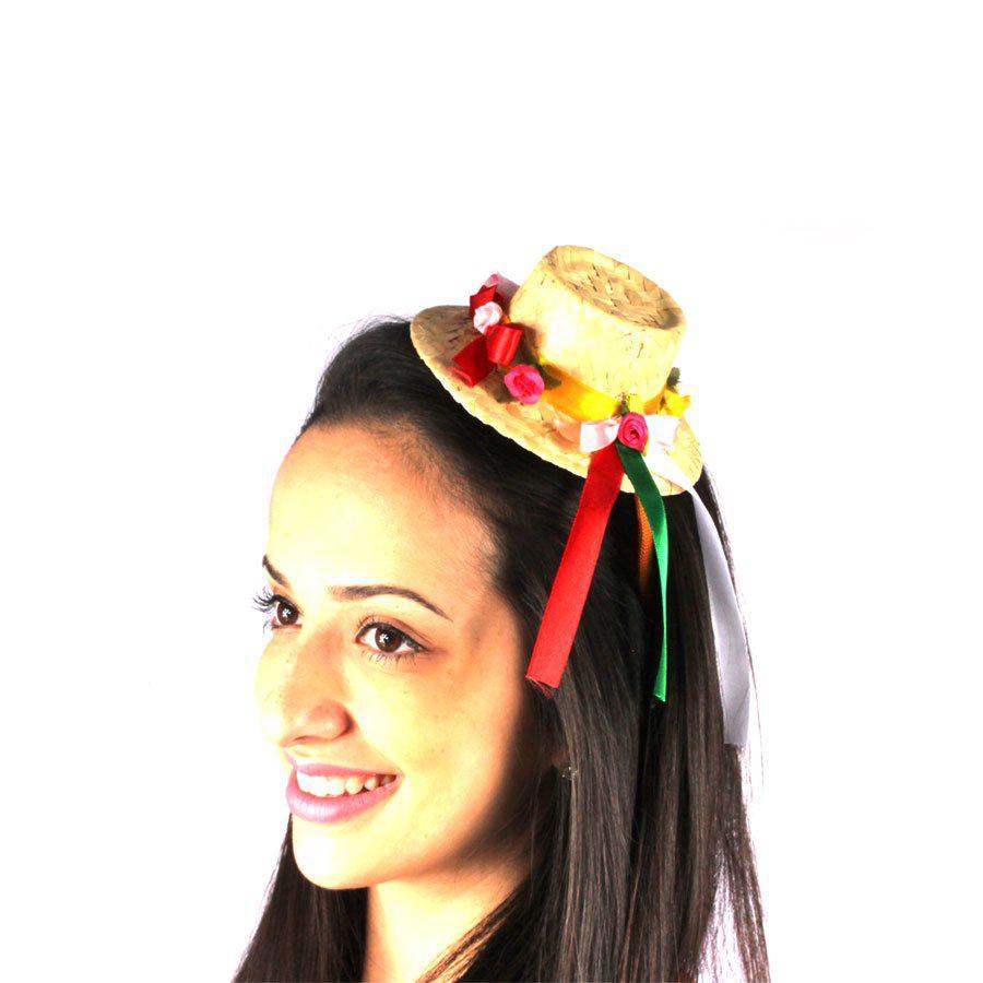 bf0cdeb9bfdc5 Tiara Chapéu de Palha de Festa Junina com Enfeites - Aluá festas R  16