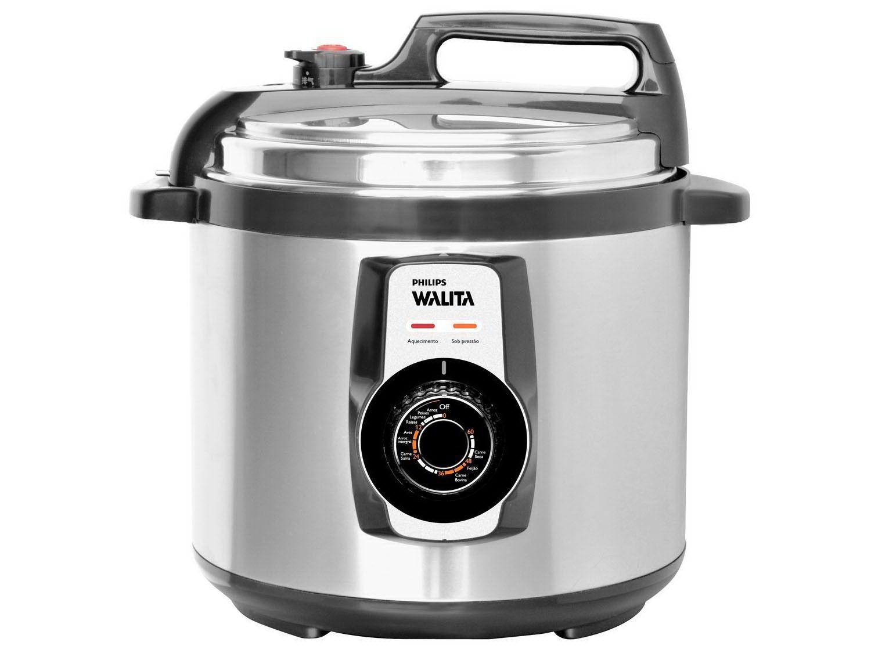 Panela de Pressão Elétrica Philips Walita Viva - RI3103 5L Timer Controle de Temperatura Prata
