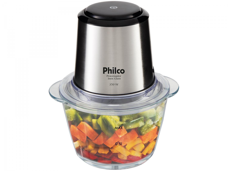 Mini Processador de Alimentos Philco - PPS01I Inox Glass 2 em 1 Copo de Vidro 350W