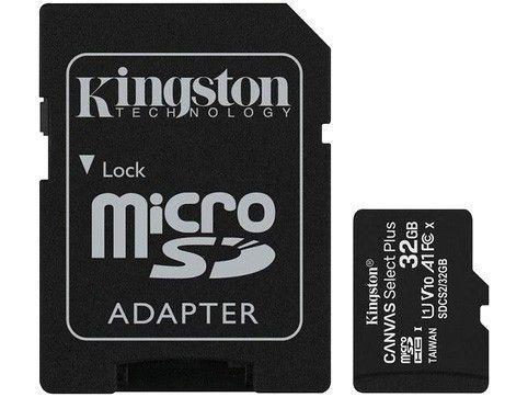 Cartão de Memória 32GB Micro SD Kingston 10 - com Adaptador SD Canvas Select Plus SDCS2