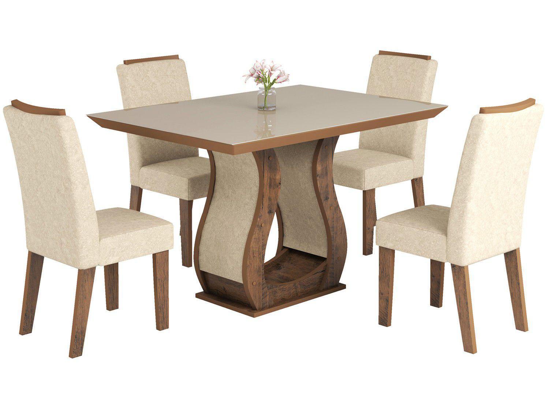 Conjunto de Mesa com 4 Cadeiras Estofadas - Viero Móveis Valência