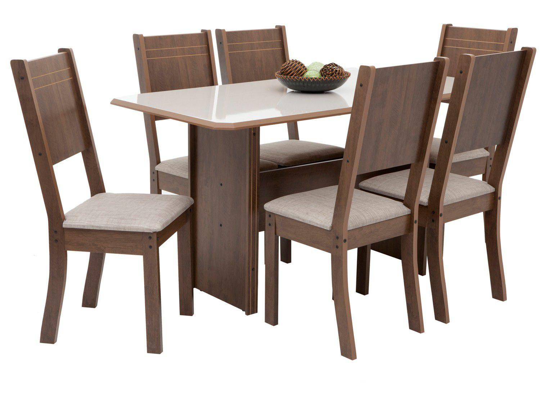 Mesa de Jantar 6 Cadeiras 6 Lugares Retangular - Indekes Cristal