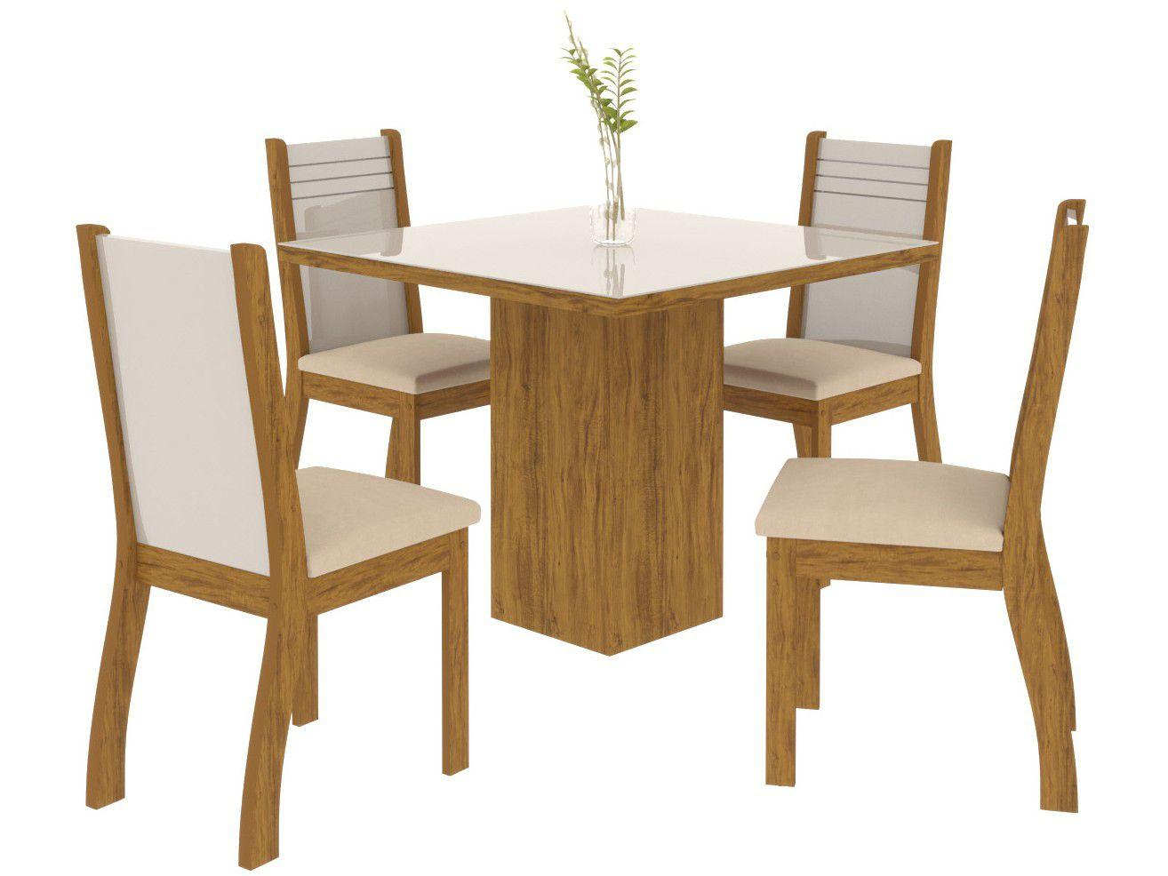 Mesa de Jantar 4 Cadeiras Quadrada Viero Móveis - Essence