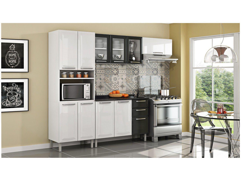 Cozinha Compacta Itatiaia Tarsila - Nicho para Micro-ondas 8 Portas Aço