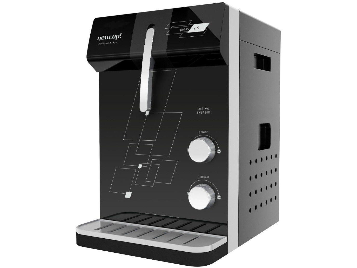Purificador de Água New.Up! Refrigerado por - Compressor Infinity Glass Água Gelada e Natural