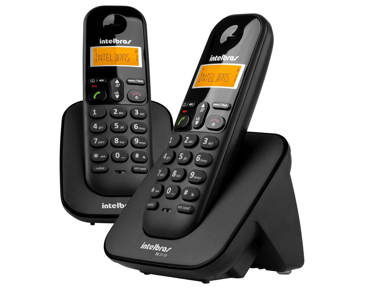 Telefone Sem Fio Intelbras TS 3112 de Mesa 1 Ramal - com Identificador de Chamadas Preto