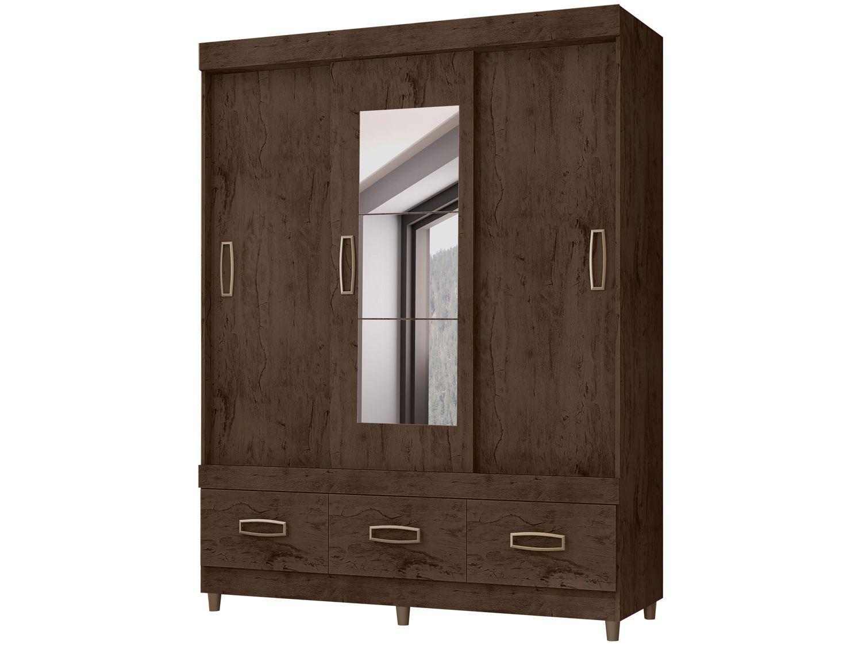 Guarda-roupa Casal com Espelho 3 Portas - de Correr 3 Gavetas Araplac E20033