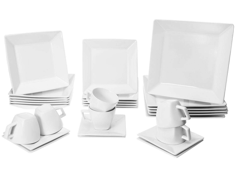 Aparelho de Jantar 30 Peças Oxford Porcelana - Quadrado Branco Quartier White