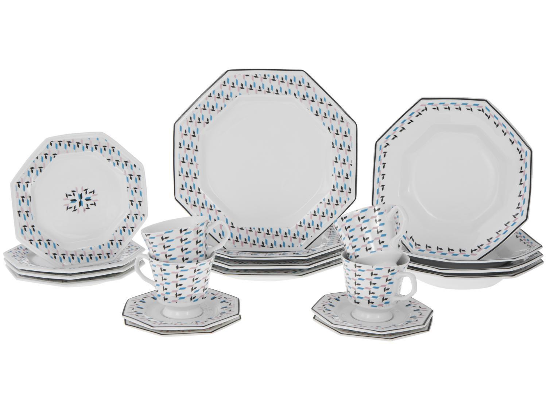 Aparelho de Jantar 20 Peças Porcelana Schmidt - Octogonal Mantiqueira